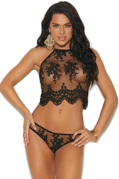 Until Mesh Do Us Part Black Cami & Panty