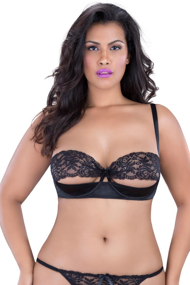 Black Satin and Lace Shelf Bra