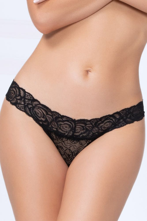 Gimme More Black Lace Thong