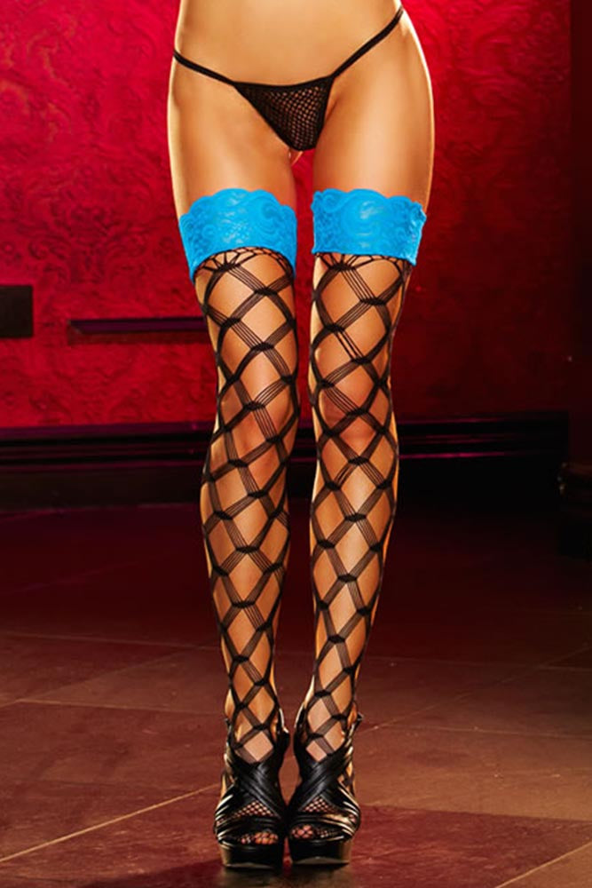 Black Diamond Net Thigh Highs with Blue Lace Tops