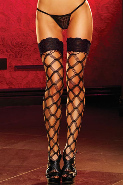 Black Diamond Net Thigh Highs with Lace Tops