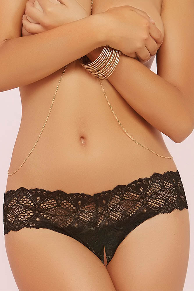 Black Crotched Lace Split Crotch Thong