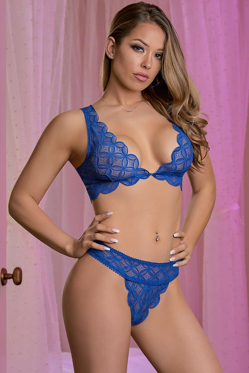 Bralette and Thong Set Blue