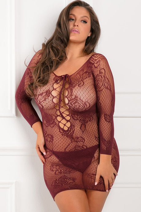 Tie Breaker Long Sleeve Burgundy Dress