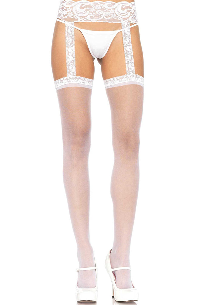 Sheer White Stockings with Attached Lace Garterbelt