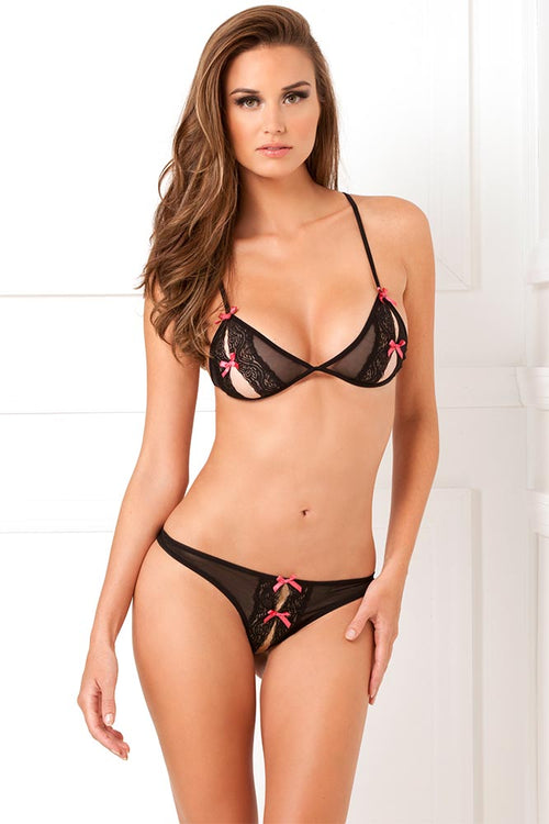 Lace Peek-a-Boo Bra & Thong Set Black