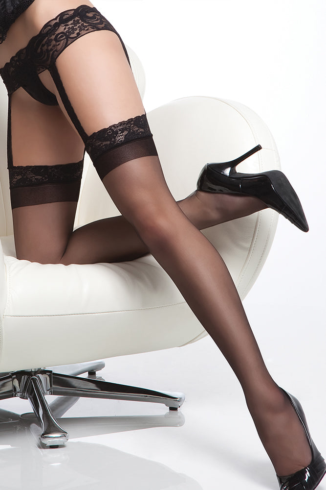 55d6cf709eb73b Sheer Thigh High Stockings with Lace Garter Belt | LACE.ca