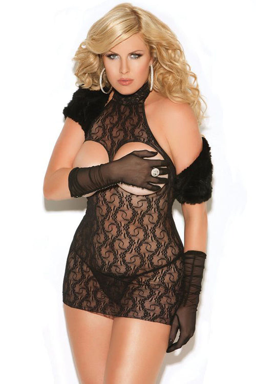 Cupless Black Lace Mini Dress