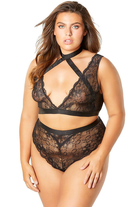 Cross Roads Black Bra & High Waist Panty