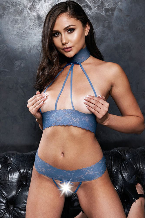 Cupless to Kill! Blue Lace Bralette & G-String