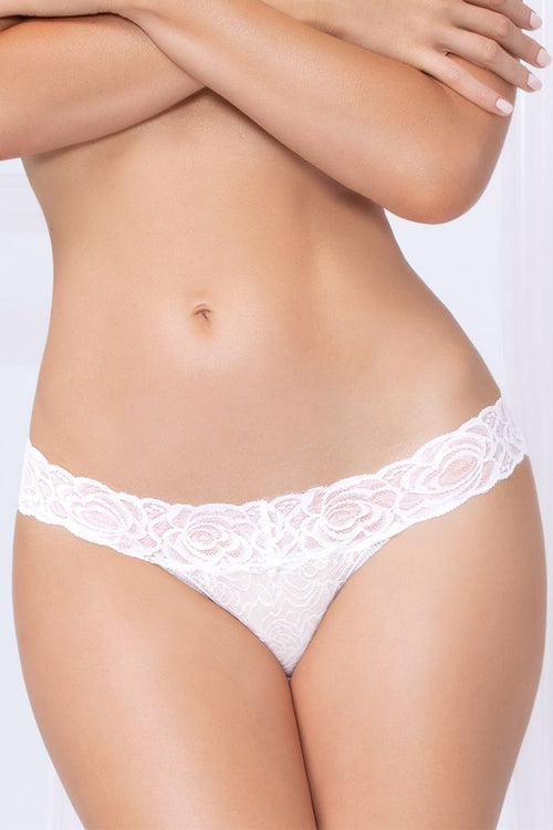 Gimme More White Lace Thong