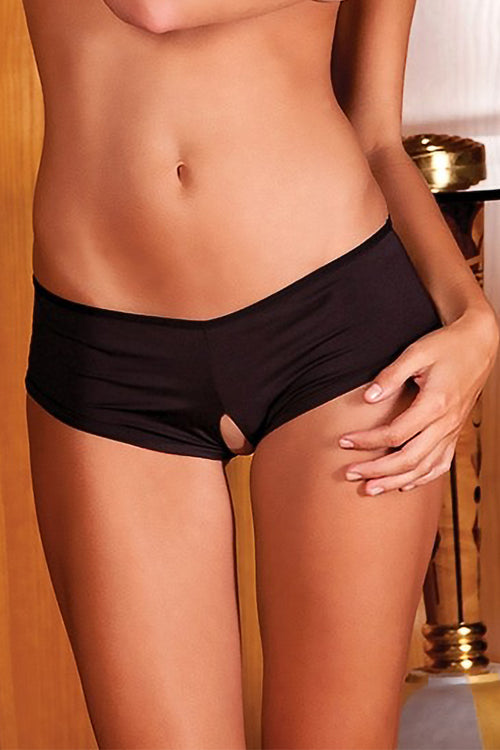 Ribbon-Back Crotchless Boyshort Black