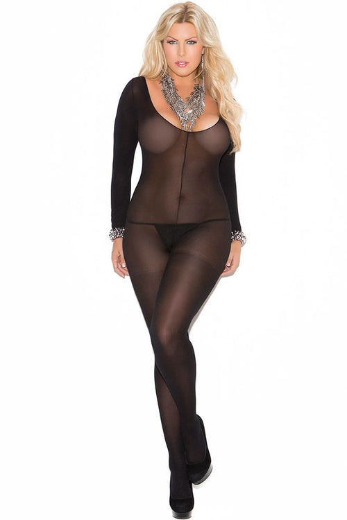 Long Sleeved Black Opaque Bodystocking