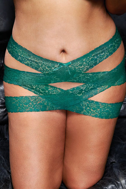 Skirt Chaser Teal Lace Criss-Cross Mini