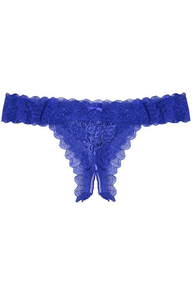 Blue Rose Lace Open Crotch Panty