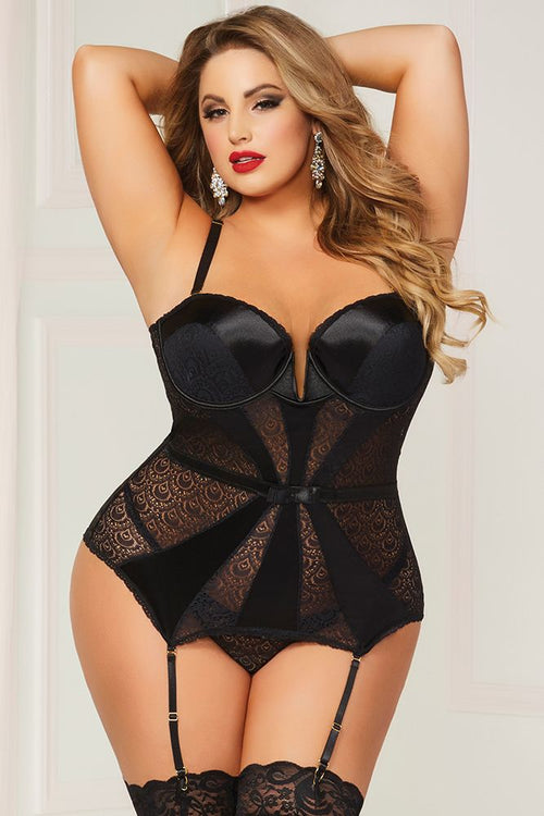 Classic Black Geo Lace Bustier and Thong