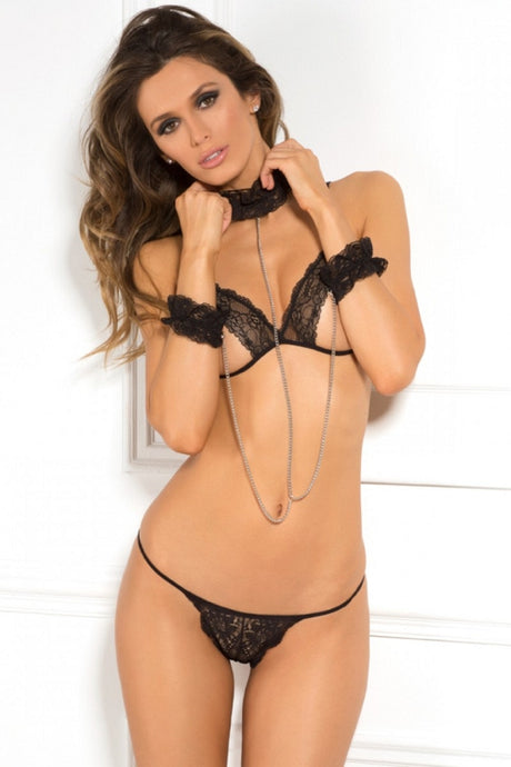 Cuffed Chaos Black Bra & G-String
