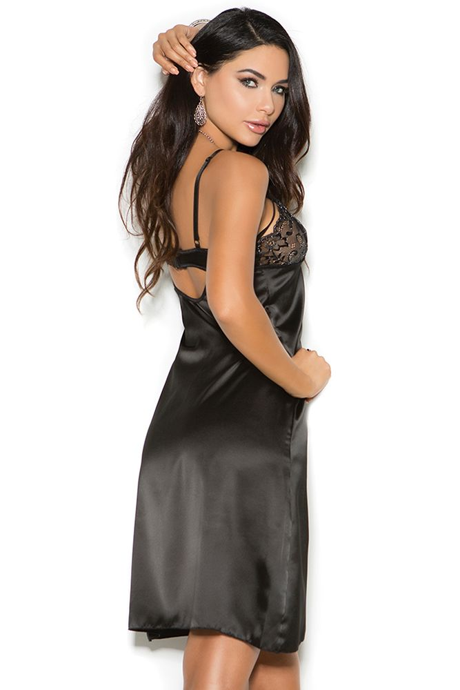 Tea Length Black Satin Gown
