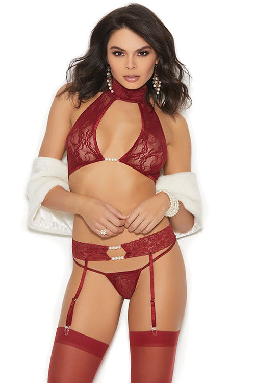 Everything is Wine! Choker Bra, Garter & G-String
