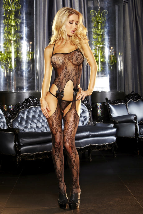 Crotchless Black Lace Bodystocking