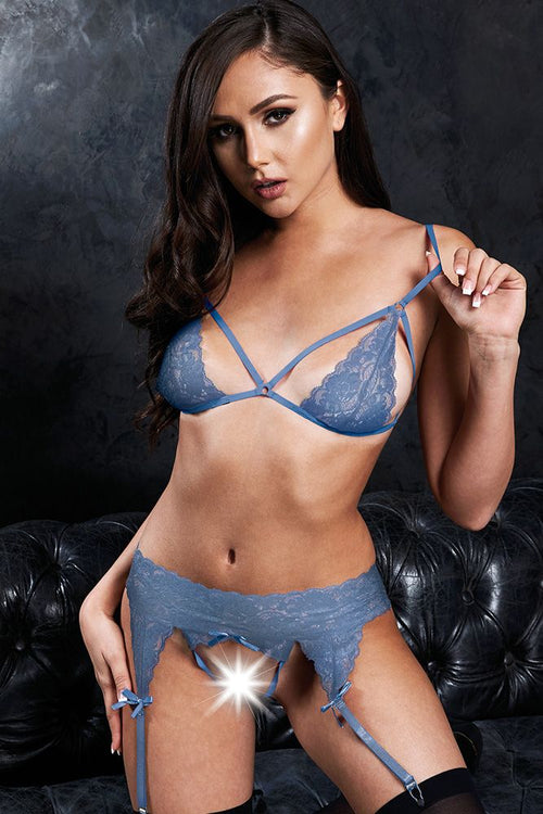 Strappy Accidents Blue Bralette, G-String & Garter