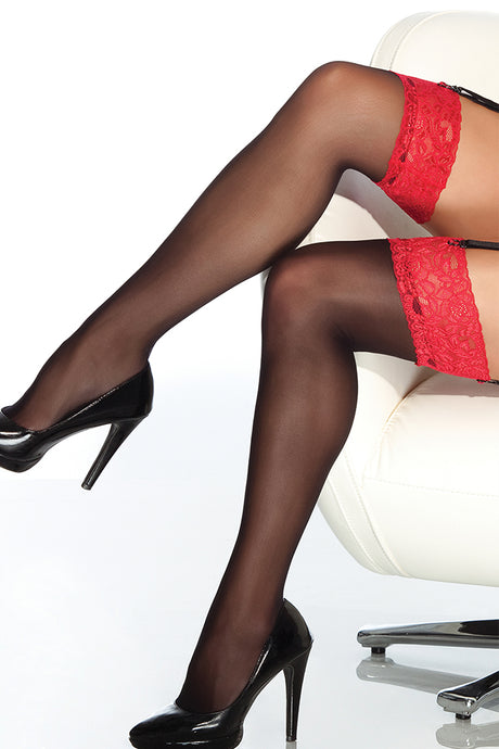 Sheer Lace-Topped Thigh Highs Black & Red