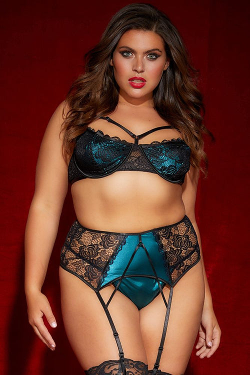 Monique Everglade Bra, Garter & G-String