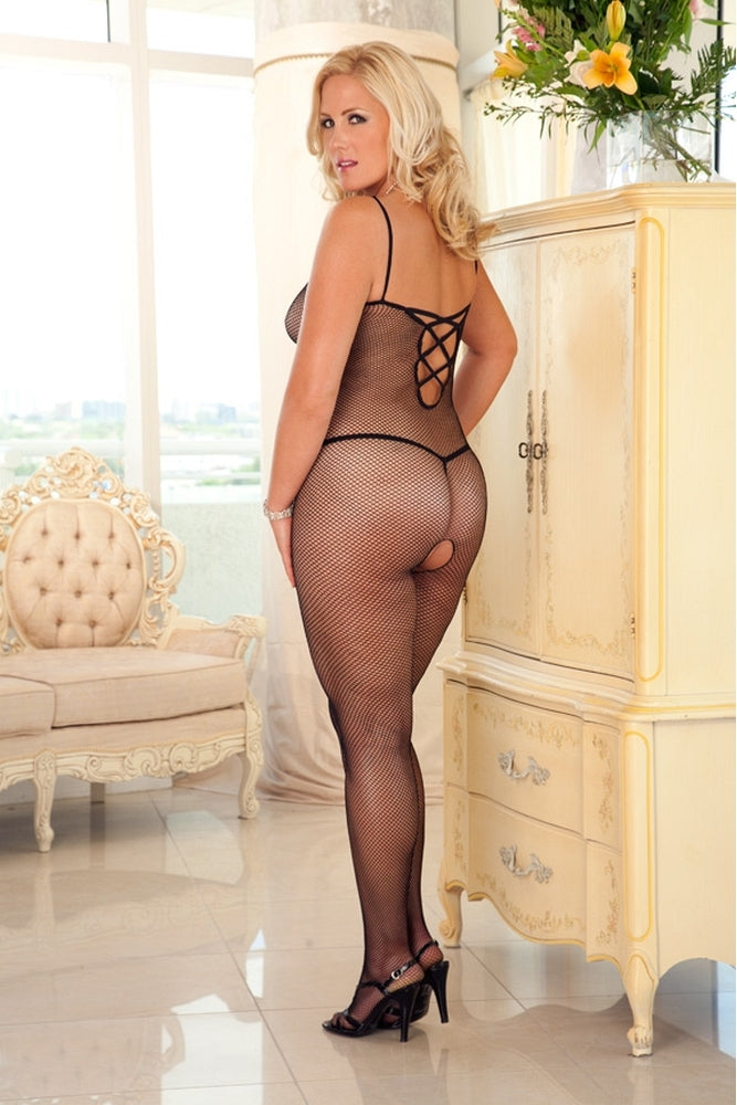Criss-Cross Black Fishnet Bodystocking