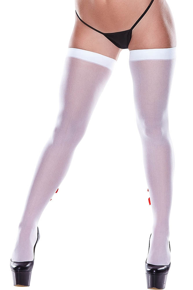 Naughty Nurse White Fishnet Thigh Highs