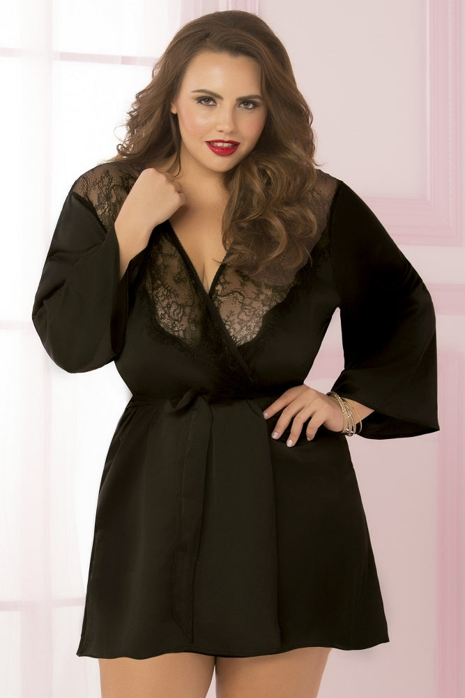 Black Satin and Eyelash Lace Robe