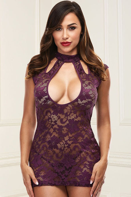 Dressed to the Nines Purple Lace Mini