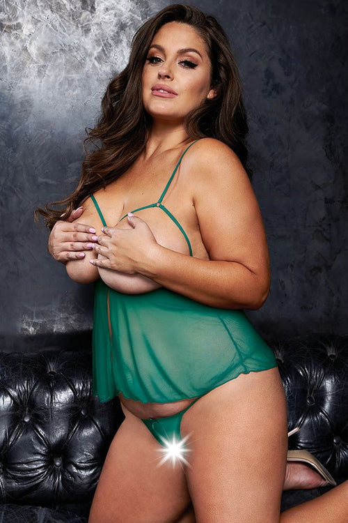 Close Call Teal Babydoll & G-String