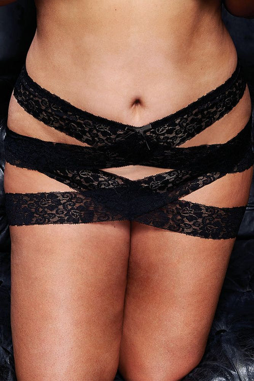 Skirt Chaser Black Lace Criss-Cross Mini