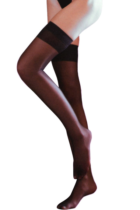 Sheer Black Thigh Highs with Backseam