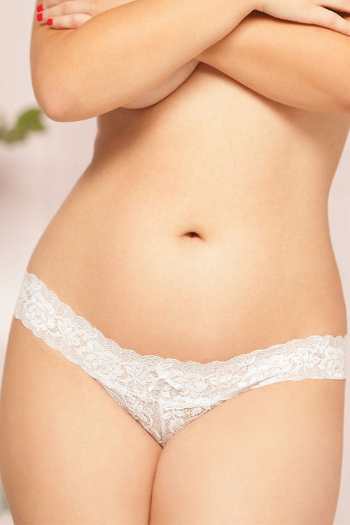 White Rose Lace Open Crotch Panty