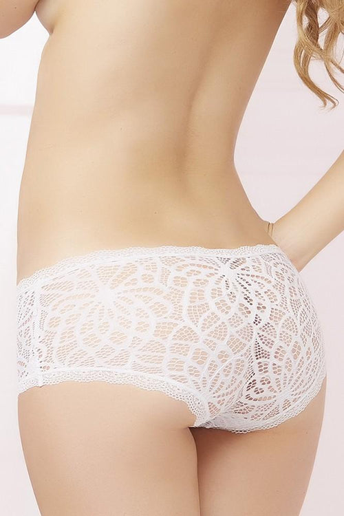 Crocheted White Lace Hip Hugger Panties