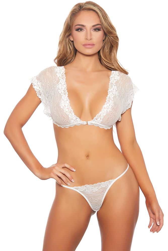 THE White Capped Sleeve Cropped Cami & Thong