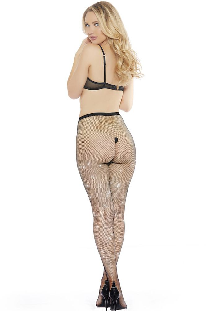Bad to the Rhinestone Small Net Stockings