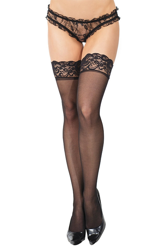 Sheer Thigh High Stockings with Silicone Grip Tops