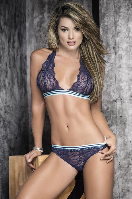 Just the Way Blue Are Sporty Bralette & G-String