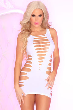White Sliced Up Seamless Dress