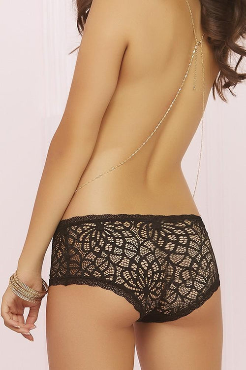 Crocheted Black Lace Hiphugger Panties