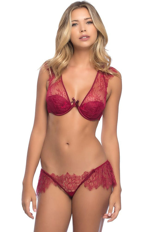 Colette Rhubarb Bra & Skirted Lace Thong