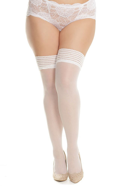 White Here Waiting Stay-Up Thigh Highs