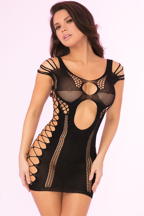 Full of Shred Black Mini Dress