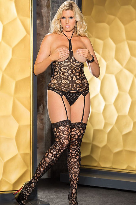Open Bust Fishnet Top, G-string and Stockings