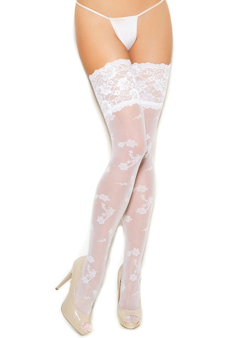 Floral Print White Sheer Thigh Highs