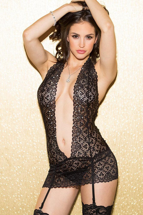 Chemise Stretch Lace with Stones