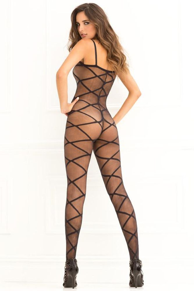 Strapped Up Sheer Black Bodystocking