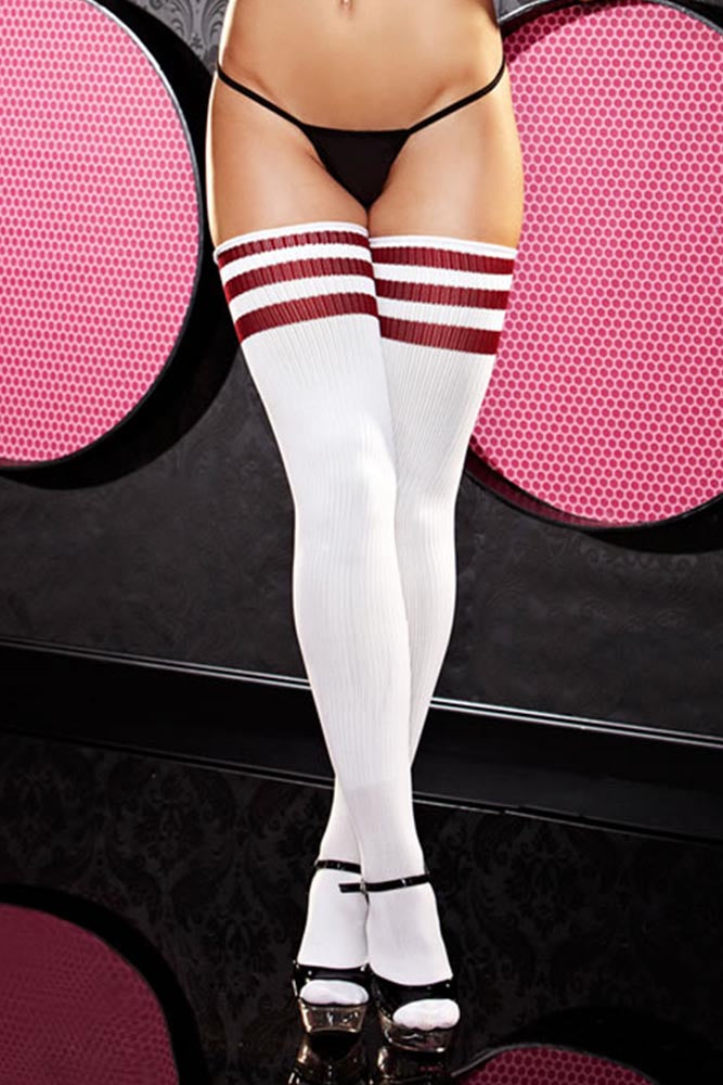 White and Red Stripe Rib Knit Thigh High Socks
